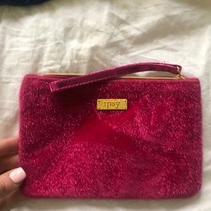 Ipsy Cosmetic Bag Red & Fuzzy